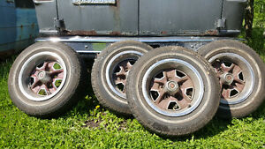 "Old school Chevy 5x4-3/4 14"" steelies with like new tires"