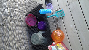Rodent cage with toys