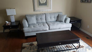 Couch, coffee table and side table