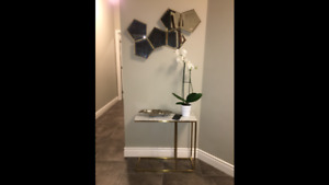 Console entry table, gold legs with Marble top