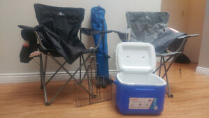 3 camp chairs, 1 cooler and 1 grill: Campfire kit