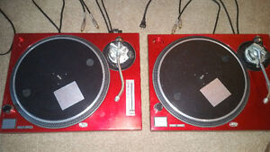 Cherry Red Technics SL-1200 MK2-A Direct Drive Turntables