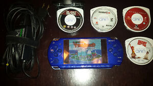 Blue Modded PSP-2001 charger, game, movies