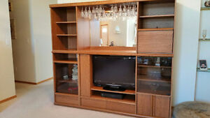 TV Wall Unit w' Liquor Cabinet Storage and Display w' Light