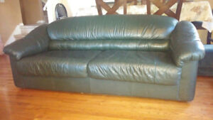 Leather-look couch with hide a bed - Great condition!
