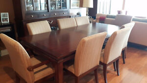 Elegant Solid Wood Dining Table with 8 chairs and China Cabinet