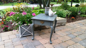 Painted Grey Blue French Provincial End Table