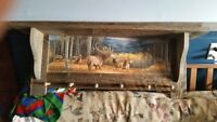 Elk in Mountains Barn Board Coat Shelf
