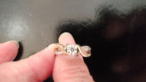 Engagement Ring two toned yellow and white gold