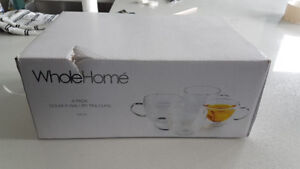 Brand New Double Walled Glass Coffee Tea Cups Mugs – Set of 4
