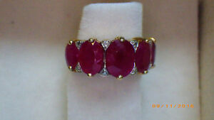 LADIES YELLOW GOLD RUBY AND DIAMOND RING Peterborough Peterborough Area image 2
