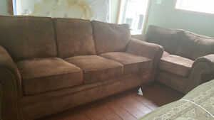 Beautiful Brown microfiber couch and loveseat