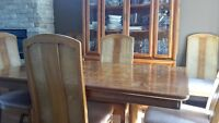 Burled Olive Ash Dining Room Suite