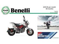 BENELLI TNT125 FANTASTIC ROAD LEGAL MINI BIKE WITH LOW SEAT AND 2 YEARS WARRANTY