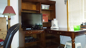 2 year old desk, china cabinet and armoir