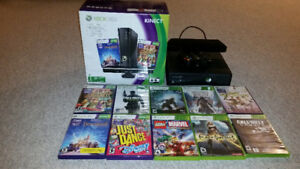 XBOX 360 4GB, Kinect, wireless controler, 10 games