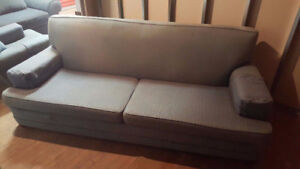 Beautiful BLUE Grey Couch--Free Delivery