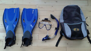 Snorkelling gear and backpack