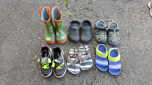 Boys Shoes, Sandals, Soccer Shoes, and Rain Boots size 7-8