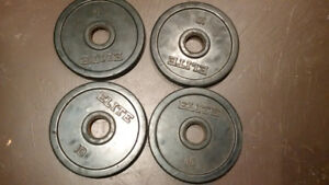 4 × 10 lbs weights, olympic size