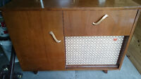 Antique short wave radio and record player cabinet