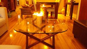 Table basse structube bois et verre trempé
