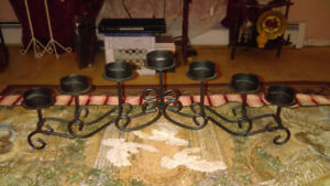 Wrought iron 7 candle votive candleabra
