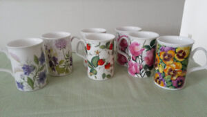 Fine Bone China Tea Mugs made in England/vintage crystal glasses