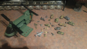 Micro machines helicopter carrier + lot of military vehicles