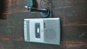 Cassette recorder and player with microphone