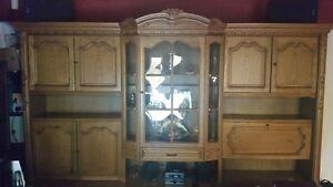 Oak Wall Unit-Display Cabinet