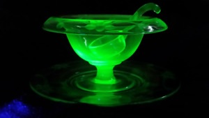 Uranium Glass Etched Floral Pattern Mayo/Sauce Three Piece Set