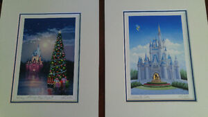 Disney Prints signed Larry Dotson Cinderellas Castle & Holidays