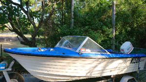 4.5m boat with 85hp Suzuki outboard on trailer all registered wit