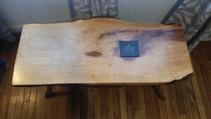 Live Maple Slab Axe Handle Table - With Stone Insert