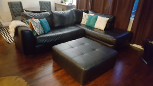 Large Leather Sectional with Matching Ottoman