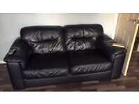 2&3 seater black leather