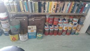 Lots of vintage items - Tins, books, oil cans, tools