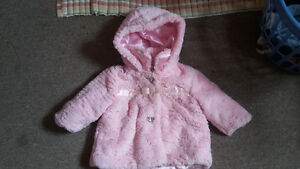 6-12 month girls fuzzy pink coat