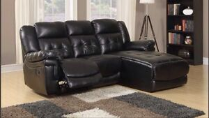 SECTIONAL RECLINER SOFA IN BONDED LEATHER BEIGE OR BLACK