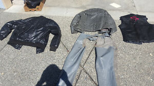 Womens motorcycle jacket,chaps and assorted vests