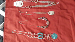 Necklaces, earrings, sunglasses, hair accessories