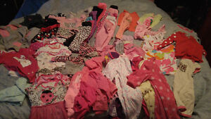 Large lot of 0-3 mth baby girl clothes.