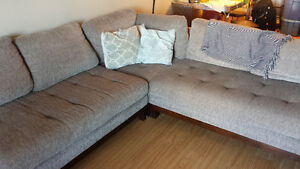 Grey Sectional with Built in End Tables