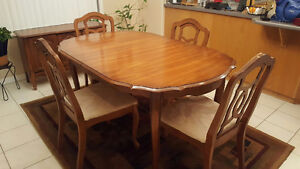 Vintage Real Wood Diningroom Table,4 Chairs,Leaf+China Cabinet