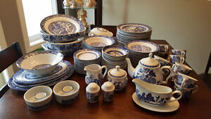 Blue willow dishes.  Complete set +