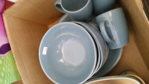 Set of dishes, mugs and overproof casserole
