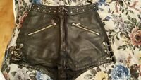 real leather shorts