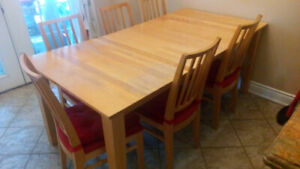 Maple dining table set with 8 chairs