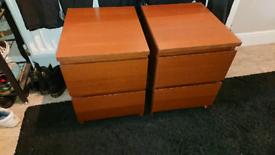 IKEA malm bedside cabinets